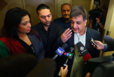 Sabir Aminzada, father of Hamid Aminzada, 19, who was fatally stabbed at North Albion Collegiate, speaks to media at his apartment in Toronto on Wednesday September 24, 2014. (Dave Abel/Toronto Sun)