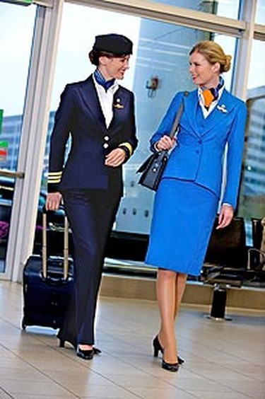 KLM Royal Dutch Airlines: The female flight attendants at KLM are among the best-dressed in the skies. Their stylish, signature blue uniforms are sleek and well-tailored, without being too formal like many navy blue ensembles worn by flight attendants. (Courtesy KLM Royal Dutch Airlines)