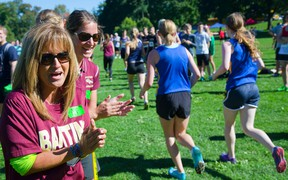 Pat Foto, mom of Alexandra Foto, and Banting cross country coach Becky Wright cheer on runners at Springbank Park in London on Wednesday.  Mike Hensen/The London Free Press/QMI Agency