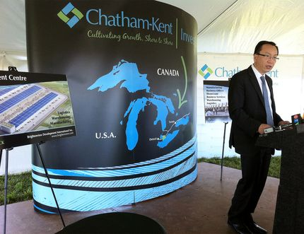 The Municipality of Chatham-Kent has sold its 34-acre industrial park in Blenheim, Ont. to a private developer. Joe Zhou, executive director of Brightenview Development International. (File photo)