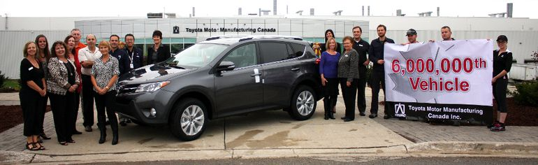 Toyota Motor Manufacturing Canada Inc. (TMMC) gave the Canadian Mental Health Association a new Toyota RAV4 to celebrate the six millionth car built by TMMC.