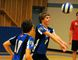 Carter May (right) of the Simcoe Composite School Sabres junior boys volleyball team bumps the ball while teammate Jake Luke watches in their team's 3-0 win over the visiting Waterford Wolves on Tuesday afternoon. (DANIEL R. PEARCE Simcoe Reformer)