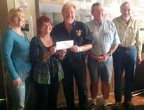 The Kincardine Lighthouse Blues Festival recently donated $10,000 to the Kincardine Lions Club, towards the construction of a new splash pad at the Davidson Centre. L-R: Bruce Steakhouse's Kelly Kirkconnell, Lighthouse Blues Festival's Marilyn Clarke and Lions John McManus, George Ling and Eric Slade. (SUBMITTED)