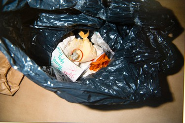 Garbage  among the evidence presented in the Luka Magnotta murder trial in Montreal, Sept. 30, 2014.  (Courtesy Montreal Police)