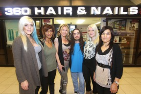 From the left; Brittney, Ingrid, Buffie, Shael, Kriswtyn, and Ashley.  There is a Cut for a Cure event at Winnipeg Square on Nov. 5.  They raised $8,000 for the Canadian Cancer Society last year. This year, 360 Hair & Nails will be joined by a second salon, Buffie  & Co.
