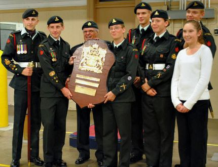 he 2659 Royal Canadian Army Cadet Corps in Brantford was presented with an Area Lord Strathcona Efficiency Award at a ceremony on Tuesday at the Brantford Armouries. On hand were Chief Warrant Officer William Hurley (left), Master Warrant Officer Isaac Gilbert, Major Lloyd Sainsbury, Warrant Officer Jordan Moore, Master Warrant Officer Devin Traplin, Master Warrant Officer Ryen Muscat, Master Warrant Officer Ryan Kapp, and Warrant Officer Emily Rolson. (Photo by Virginia Hurley)