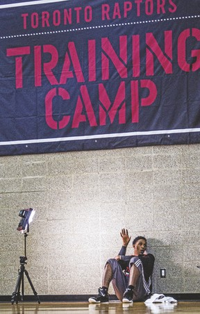 Raptors' Lou Williams takes a break during a training camp session at Fortius Sport & Health Facility on Wednesday. (CARMINE MARINELLI/QMI Agency)
