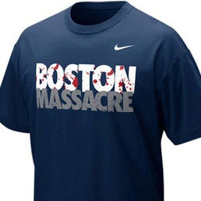"Boston Massacre t-shirt – Nike<Br><Br>Referring to the rivalry between the New York Yankees and Boston Red Sox baseball teams, Nike pulled this <A HREF=""http://www.intelligencer.ca/2013/04/25/ebay-pulls-bloody-nike-boston-marathon-t-shirt-listing"" TARGET=""newwindow"">t-shirt</a> with  images of red blood spattered on the word Boston after the Boston Marathon Bombings in April 2013. A used t-shirt appeared online for sale on eBay, but was removed by the online marketplace citing it violated its policy against offensive materials."
