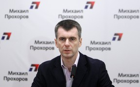 Russian billionaire and presidential candidate Mikhail Prokhorov attends a news conference before a concert, as part of his election campaign, in Moscow in this March 2, 2012 file photo. (REUTERS/Denis Sinyakov/Files)