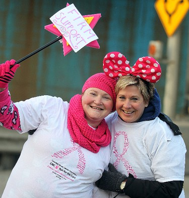 Deanne Noseworthy (l) and Donna Duncan take part in the CIBC Run for the Cure in Winnipeg, Man. Sunday October 05, 2014. Brian Donogh/Winnipeg Sun/QMI Agency