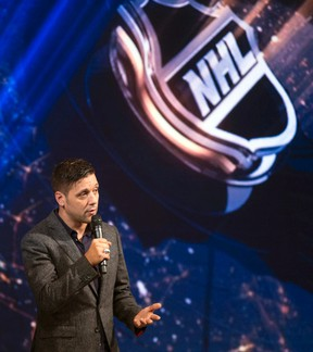 Host George Stroumboulopoulos speaks as Sportsnet unveils its multi-milion dollar 11,000 sq. ft. television studio to be used for their hockey broadcast at the CBC building in Toronto on Monday September 29, 2014. (Dave Abel/Toronto Sun/QMI Agency)