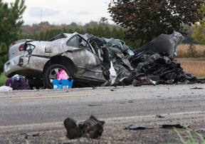 A woman, 18, died when the car she was driving collided with a truck on Fanshawe Park Rd. west of Clarke Rd. just outside London Monday. (DEREK RUTTAN, The London Free Press)