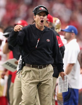 Head coach Jim Harbaugh of the San Francisco 49ers yells at an official during the third quarter of the NFL game against the Arizona Cardinals. (Christian Petersen/Getty Images/AFP)