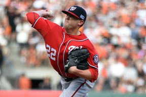 Washington Nationals relief pitcher Drew Storen pitches during the ninth inning against the San Francisco Giants in Game 3 of the 2014 NLDS series at AT&T Park on October 6, 2014. (Kyle Terada/USA TODAY Sports)