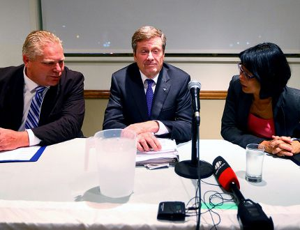 Doug Ford, John Tory and Olivia Chow during the Leaside Property Owners' Association mayoral candidate debate on Tuesdayn Oct. 7, 2014. (DAVE ABEL/Toronto Sun)