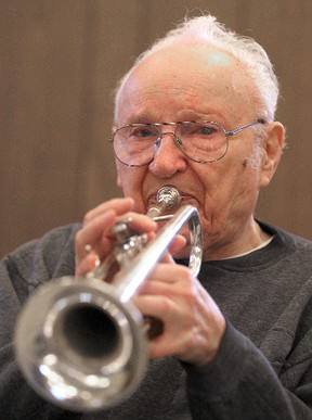 Trumpet player Nestor Mudry, 93, practices with the Murray Riddell Big Band in Winnipeg, Man. Tuesday, Oct. 7, 2014. Mudry will be playing in the upcoming Seniors Music Fest.