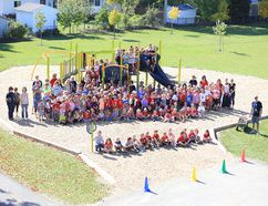 Phase Two of Elmwood School's playground project is finally complete, and the students couldn't be more delighted. Photo courtesy of Andrew Rempel.