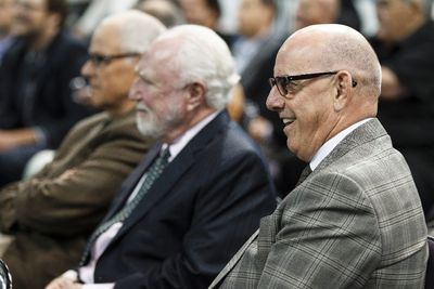 Oilers president and COO Patrick LaForge (right) chuckles during an Edmonton Oilers media availability with the members of the Stanley Cup winning 83-84 Oilers at Rexall Place in Edmonton, Alta., on Wednesday, Oct. 8, 2014. Players and coaches spoke about the historic win against the New York Islanders, reminisced about the past and had a group photo taken. The 84 reunion event is set for Oct. 10, 2014. Ian Kucerak/Edmonton Sun/ QMI Agency