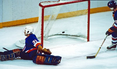 New York Islanders Denis Potvin watches one of five goals that got past goalie Billy Smith during game five action of the 1984 Stanley Cup Finals at the Northlands Coliseum in Edmonton Alta., on May 19, 1984. The Edmonton Oilers went on to win their first Stanley Cup on this night. Edmonton Sun/QMI Agency