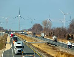 Samsung's South Kent wind farm seems to surround the 401 looking west from Kent Bridge Road. Mike Hensen/The London Free Press