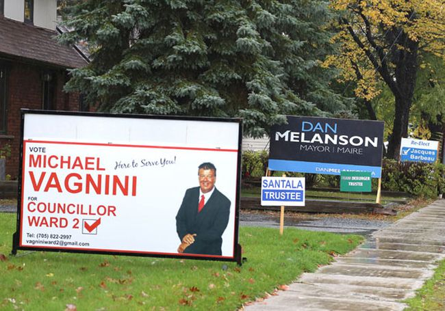 In this file photo from 2014, election signs line the main street in Lively. Five candidates were running for councillor in Ward 2. Michael Vagnini won the race. (Gino Donato/The Sudbury Star)