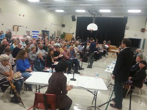 The gym at St. Nicholas Adult School in the Carlington area was packed with residents Thursday night for the River ward debate. JON WILLING/OTTAWA SUN