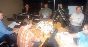 Ward 4 (North Kent) candidates relax before a radio all-candidates debate held at the CKXS studios on Oct. 16. Ward 5 (Wallaceburg) candidates also held an all-candidates debate the same evening.