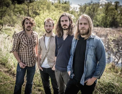 Joey and David Landreth have struck out after paying their dues as sideman and have created a buzz with Bros. Landreth. They are in Cochrane, Oct. 22. From left, Alex Campbell, Ryan Voth, David and Joey Landreth.