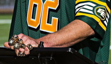 Serious Finger Bling. Tanner Stevenson, son of former Eskimo player Bill Stevenson, wears all seven Grey Cup rings that his father won during his career. Stevenson was added to the Eskimos' Wall of Honour during the Edmonton Eskimos' CFL football game against the Winnipeg Blue Bombers at Commonwealth Stadium in Edmonton, Alta., on Monday, Oct. 13, 2014. Codie McLachlan/Edmonton Sun/QMI Agency