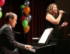 Tabor Home Inc. hosted their fundraising gala at the Access Event Centre October 4 to great success. Attendees were treated to a turkey dinner and an exciting series of performances in a night that not only raised money but thanked everyone who has donated. (Left) MLA Cameron Friesen made a surprise performance tickling the ivories while local singer Jayme Giesbrecht belted out the tunes like a young Eta James. (ANDREW PRUDEN/Morden Times)