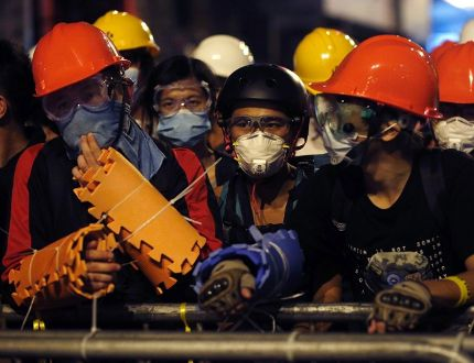 Pro-democracy protesters in Hong Kong. (REUTERS)