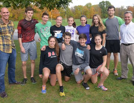 CHRIS ABBOTT/TILLSONBURG NEWS A group of Glendale Gemini cross-country runners prepare for last Thursday's training run, a week before the WOSSAA event in Blyth. From left are (front) Kiera Moylan, Alessandro Palermo, Christian Leliveld, Olivia Kyriakopoulos, (back row) coach Rick Kibalenko, Kerry Gorny, Brock Hussey, Brittany Bell, Erika Poredos, Kelsey Sanderson, Victoria Kyriakopoulos, coach Chris Nagle and coach Lloyd Renken.
