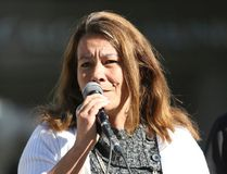 Christianne Boudreau speaks to a crowd at an anti-ISIL rally at City Hall in Calgary, Alta on Saturday Sep 13, 2014. Boudreau's son died while fighting in Syria. Gavin John/STR/Calgary Sun