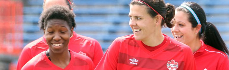 Canadian soccer player Christine Sinclair, right, and the rest of team Canada are set to take on defending World Cup Champions, Japan, at home on Oct. 25.