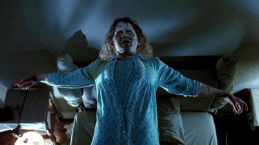 The Exorcist (1973): A demonically possessed Linda Blair crab-walks down the stairs, upside down. (Caution: Strong language)