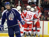 Sudbury Wolves defenseman Jeff Corbett skates to his bench after the Soo Greyhounds score their first goal of the game Wed., Oct. 22, 2014 at the Essar Centre in Sault Ste. Marie. (STEPH CROSIER, THE SAULT STAR/ QMI AGENCY)