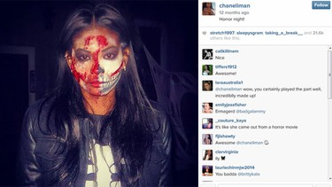 Chanel Iman puts makeup to different use in this spooky look. (Instagram/chaneliman)  Horror night!A photo posted by Chanel Iman (@chaneliman)on Nov 11, 2013 at 4:09am PDT