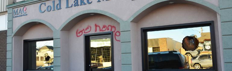 Vandals broke windows and spray painted graffiti on the Cold Lake Mosque.