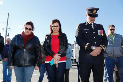 Quinte West fire prevention officer Robert Comeau, right, remembers his friend WO Patrice Vincent during a ceremony in Trenton on October 24, 2014 to honour both Vincent and Cpl. Nathan Cirillo. (Emily Mountney-Lessard/The Intelligencer/QMI Agency)