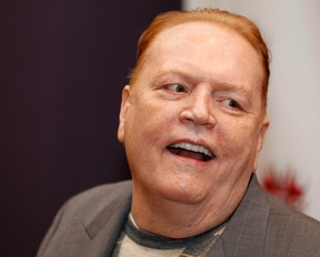 Publisher Larry Flynt, president of Larry Flynt Publications, is interviewed at induction ceremonies for adult film stars and producers John Stagliano and Belladonna into the Hustler Hollywood Walk of Fame in West Hollywood, California March 22, 2012. (REUTERS/Fred Prouser)