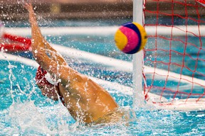 Romania's Mihai Dragusin is scored on during Team Romania's quarter final Olympic qualifying water polo match against Team Brazil at the Kinsmen Sports Centre in Edmonton, Alta. on Friday, April 6, 2012. Codie McLachlan/Edmonton Sun
