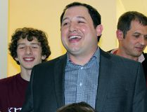 Christian Provenzano was elected the new mayor of Sault Ste. Marie Monday beating out incumbent Debbie Amaroso by over 1500 votes. Provenzano celebrated giving a speech with his supporters by his side at his campaign offices on Queen Street. (STEPH CROSIER/ THE SAULT STAR/ QMI AGENCY)