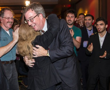 Jim Watson greeted by supporters after being elected again as Mayor of Ottawa. October 27, 2014. Errol McGihon/Ottawa Sun/QMI Agency