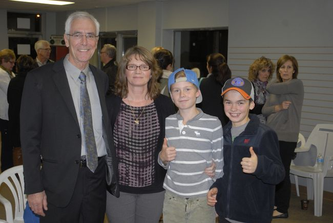 Northern News Photo Mayor-elect Tony Antoniazzi celebrated with his family after squeaking out a win over challenger Ken McCann in Kirkland Lake in 2014. Antoniazzi has announced he will not seek re-election when voters return to the polls this fall.