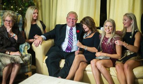 Doug Ford and his family react to the news that John Tory has been elected mayor while watching the results at the home of Diane Ford in Toronto on Monday October 27, 2014. (Ernest Doroszuk/Toronto Sun)