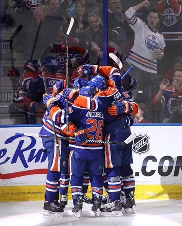 The Edmonton Oilers celebrate Nail Yakupov's (10) goal against the Montreal Canadiens during second period NHL action at Rexall Place, in Edmonton Alta., on Monday Oct. 27, 2014. David Bloom/Edmonton Sun/QMI Agency
