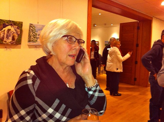 Meaford mayor-elect Barb Clumpus does an interview over the phone in Meaford Hall after winning municipal elections Oct 27. (Scott Dunn/QMI/Owen Sound)