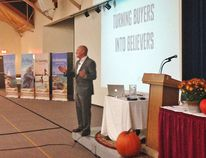 "Keynote speaker Pete Luckett focused on ""turning buyers into believers"" at the 15th annual Grey Bruce Tourism Conference held Oct. 16 at UNIFOR Family Education Centre in Port Elgin."