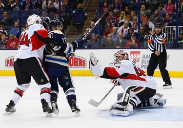 Oct 28, 2014; Columbus, OH, USA; Ottawa Senators goalie Robin Lehner (40) makes a save against the Columbus Blue Jackets during the second period at Nationwide Arena. Mandatory Credit: Russell LaBounty-USA TODAY Sports