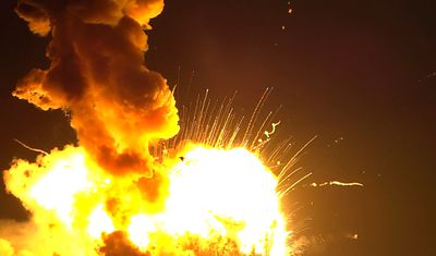 An unmanned Antares rocket is seen exploding seconds after lift off from a commercial launch pad in this still image from video shot by Matthew Travis of Zero-G News from the press area at Wallops Island, Va., on October 28, 2014. (REUTERS/Matthew Travis/Zero-G News/Handout)